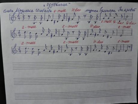 Нотное приложение к песне «Одуванчик» на слова Абдулхака Игебаева и музыку Гульнары Зиязовой